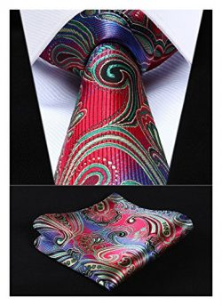 HISDERN Paisley Tie Handkerchief Woven Classic Men's Necktie & Pocket Square Set (Red  ...