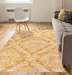 Delicate Damask Gold Oriental Geometric Modern Casual Lattice Area Rug 8×10 8×11 ( 7&# ...