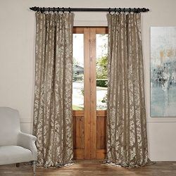 Half Price Drapes JQCH-2012654-84 Astoria Faux Silk Jacquard Curtain,Bronze & Taupe,50 X 84