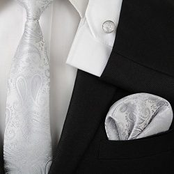 Zjzhao Fashion Men's Jacquard Woven Silk Neckties Tie Hanky Cufflinks Formal Business Set  ...