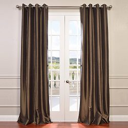 Half Price Drapes PTCH-BO27-96-GR Grommet Blackout Faux Silk Taffeta Curtain, Mushroom
