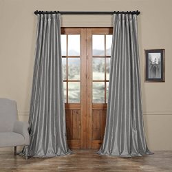 Half Price Drapes PDCH-KBS9-108 Vintage Textured Faux Dupioni Silk Curtain, 50 x 108,  Silver