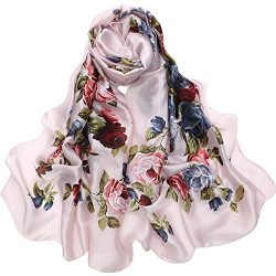 Sleep Koala Women Silk Scarf Large Satin Hair Scarves Fashion Flower Pattern Wrap
