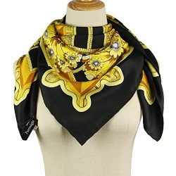 Silk Scarf Luxurious Hair Wrapping – 100% Mulberry Silk 14mm Twill Black Square scarf