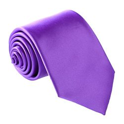Fortunatever Men's Handmade Tie,Classical Solid Necktie With Gift Box (Violet)