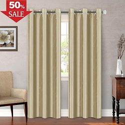 Energy Saving Window Treatment Panel Solid Grommet Top Faux Silk Dimout Light Curtain, Natural E ...