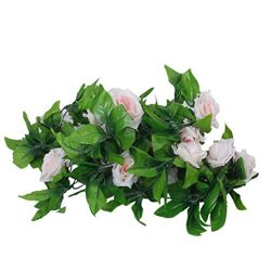 ULTNICE 2pcs Artificial Silk Rose Flower Green Leaf Garland Hanging Decor (Light Pink)