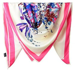 100% Silk Female Twill Square Scarf 40 Inches / Ivory and Dark Pink Flowers