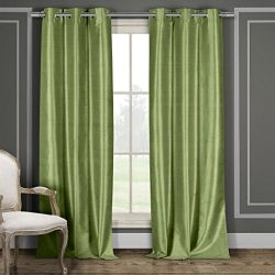 Heavy Faux Silk Blackout Curtains Panels for Bedroom – Window Treatment Thermal Insulated  ...