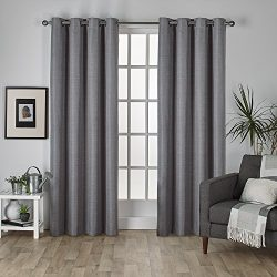 Exclusive Home Curtains Raw Silk Thermal Room Darkening Grommet Top Window Curtain Panel Pair, B ...