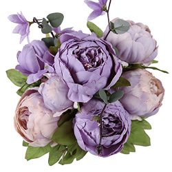 Luyue Vintage Artificial Peony Silk Flowers Bouquet Home Wedding Decoration (New Purple)