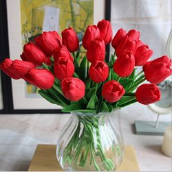 12PCS/Set PU Stunning Holland Tulip Flower Real Touch Artificial Silk Flowers Arrangement Bouque ...