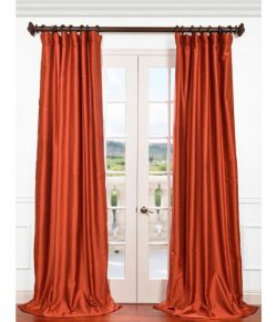 Half Price Drapes PDCH-HANB44-108 Yarn Dyed Faux Dupioni Silk Curtain, Blood Orange
