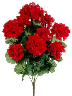17″ Silk Geranium Flower Bush -Red (case of 12)
