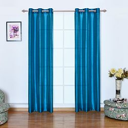 YAOTE Window Curtains Rod Grommets Faux Silk Curtain Sheer Drapes Panels 2 pieces ,W38 x L84 —In ...