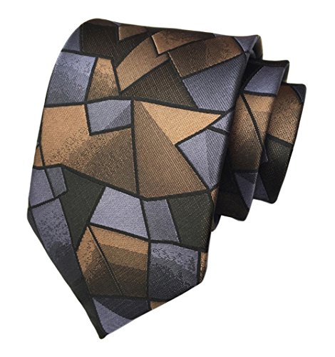 Secdtie Men's Handmade Silk Tie Geometry Plaid Jacquard Woven Formal Necktie C22