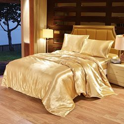 Ingzy Silk Bed King Comforter Sets,Pillowcase Sets,Super Soft Summer Home Bedding,Wrinkle, Fade, ...