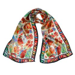 Wrapables Vibrant 100% Silk Long Scarf 51″ x 10.5″, Wild Felines