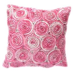 Oops!! (Single) Two Tone 3d Bouquet of Pink Roses Throw Cushion Cover/pillow Sham Handmade By Sa ...