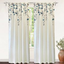 DriftAway Isabella Faux Silk Embroidered Window Curtain, Embroidered Crafted Flower, Lined with  ...