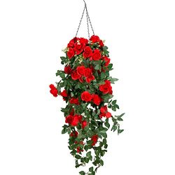 Artificial Hanging Flower, Mixinie Hanging Basket Silk Flower Rose Garland Vine For Home Outdoor ...