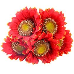 StarLifey 5 PCS Beauty Fake Sunflowers Artificial Silk Flower Bouquet Home Garden Fence Decorati ...