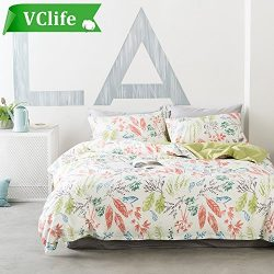 VClife Floral Bedding Duvet Cover Sets Twin Cotton Duvet Cover Sets, Flower Floral Branch Leaves ...