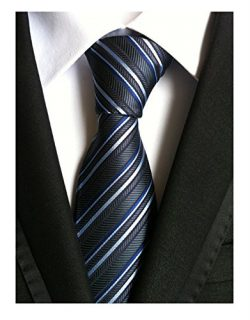 Secdtie Men Classic Checks Grey Blue White Jacquard Woven Silk Tie Necktie TW018