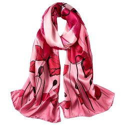 STORY OF SHANGHAI Womens 100% Mulberry Silk Head Scarf For Hair Ladies Satin Scarf Gift For Vale ...