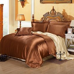 Coffee And Camel Silk Bedding Set Duvet Cover Silk Pillowcase Silk Sheet Luxury Bedding, Full Size