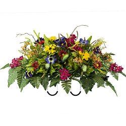 Fuchsia Wild Flower Artificial Saddle Arrangement (SD2103)