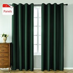KEQIAOSUOCAI 2 Panels Green Blackout Curtains 95 inches long for bedroom-Window Treatment Therma ...