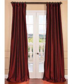 Half Price Drapes PTCH-BO1066-96 Blackout Faux Silk Taffeta Curtain, Syrah