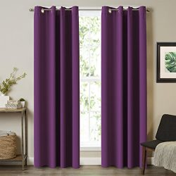 Turquoize 108 inchs Long 100% Insulated Blackout Window Grommet Silk Curtain Sunlight Blocker &a ...