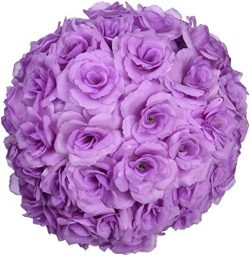 LinenTablecloth Silk Flower Ball, 12″, Lavender