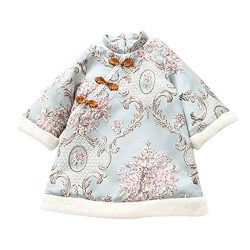EsTong Baby Girl Qipao Dress Silk Flower Embroidery Cheongsam Three-Quarter Sleeve Winter Outfit ...