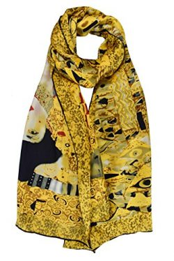 ELEGNA Women 100% Silk Art Collection Scarves (Gustav Klimt's Adele Bloch-Bauer)