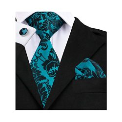 Barry.Wang Teal Ties for Men Flower Necktie for Party