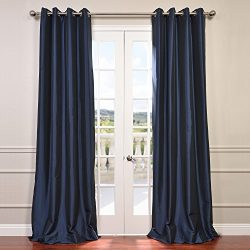 Half Price Drapes PTCH-BO194010-120-GR Grommet Blackout Faux Silk Taffeta Curtain, Navy Blue