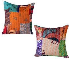 Indistar Set of 2 Throw Pillow Cover | Silk Patchwork Cushion Covers with Traditional Indian Kan ...