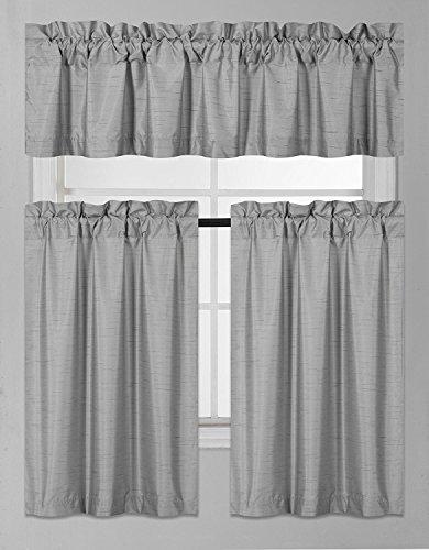 Fancy Collection 3 Pieces Faux Silk Blackout Kitchen Curtain Set Tier Curtains and Valance Set S ...