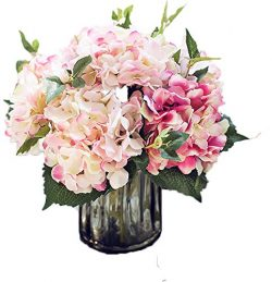 Lannu Artificial Hydrangea Flowers Silk Floral Fake Bouquet Flower for Home Wedding Wall Decor P ...