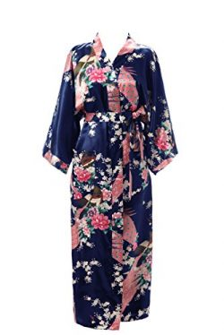 J.ROBE Women's Kimono Robe Long Printed Lotus Kimono Robe Silk With Pockets Navy