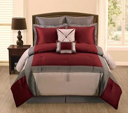 7 PC Burgundy, Grey and Silver Faux Silk King Comforter Bedding Set