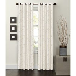 Maytex Jardin Embroidered Thermal Window Curtain, 54 by 84-Inch, Natural