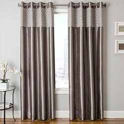 Softline Home Fashions Vernetti Faux Silk Window Treatment/Curtain/Panel/Drape, Platinum, 55 x 8 ...