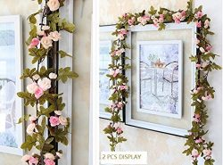 Lannu 2 Pack Artificial Rose Vine Flowers Fake Garland Ivy Flowers Silk Hanging Garland Plants f ...