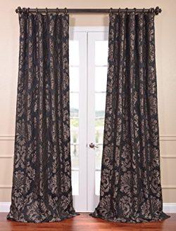 Half Price Drapes JQCH-201301-108 Astoria Faux Silk Jacquard Curtain, Black & Pewter, 50 x 108