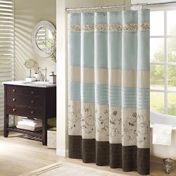 Serene Faux Silk Embroidered Floral Shower Curtain Blue 72×72″