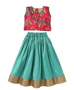 Mom's Girl Butterfly Design Choli & Lehenga Set – Green & Pink,Ethnic Wear,  ...